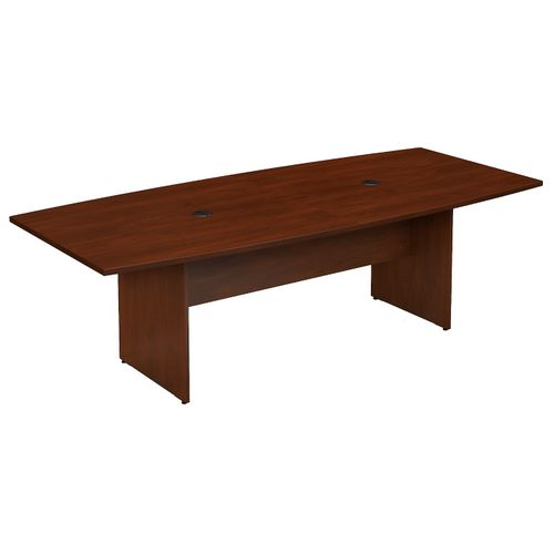 BUSH BUSINESS FURNITURE 96W X 42D BOAT SHAPED CONFERENCE TABLE WITH WOOD BASE. FREE SHIPPING - <font color=red><b>OUT OF STOCK</b></font>