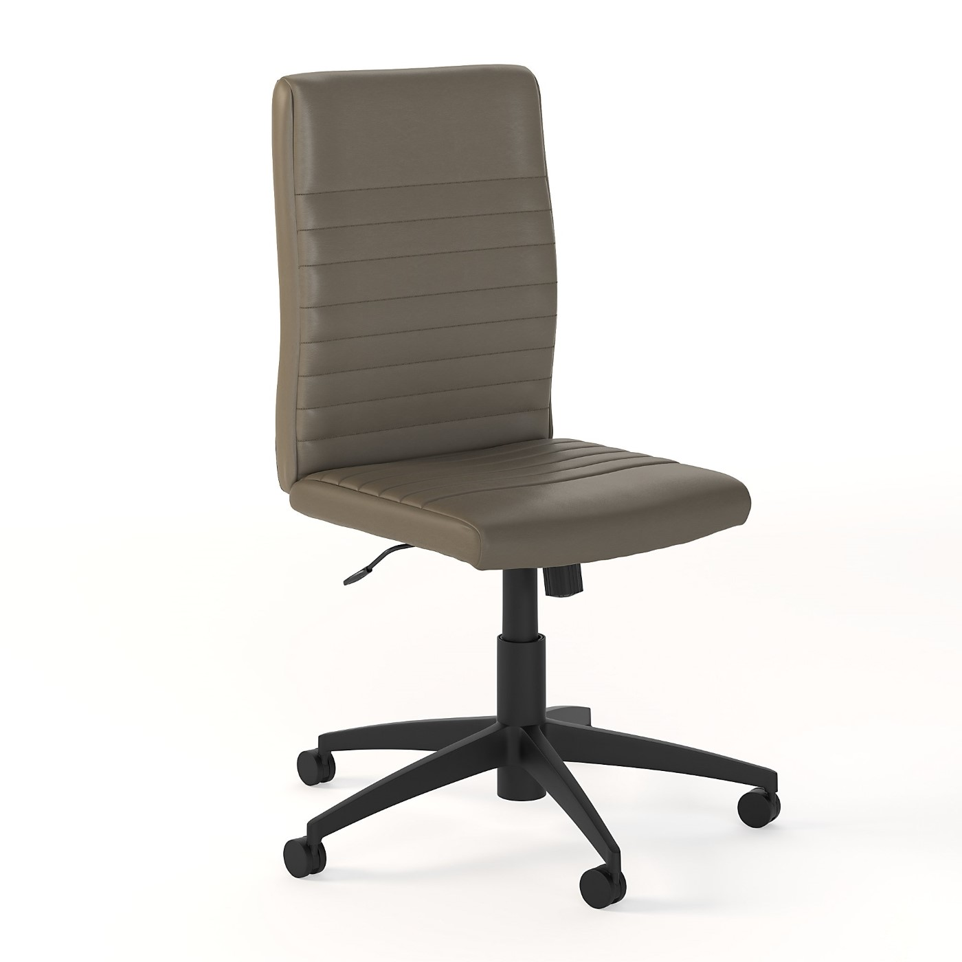 <font color=#c60><b>BUSH BUSINESS FURNITURE ARCHIVE MID BACK RIBBED LEATHER OFFICE CHAIR. FREE SHIPPING 30H x 72L x 72W</font></b>