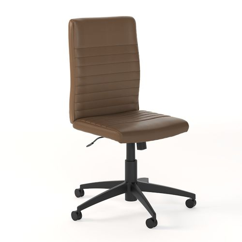 BUSH BUSINESS FURNITURE ARCHIVE MID BACK RIBBED LEATHER OFFICE CHAIR. FREE SHIPPING 30H x 72L x 72W  VIDEO BELOW. - <font color=red><b>OUT OF STOCK</b></font>