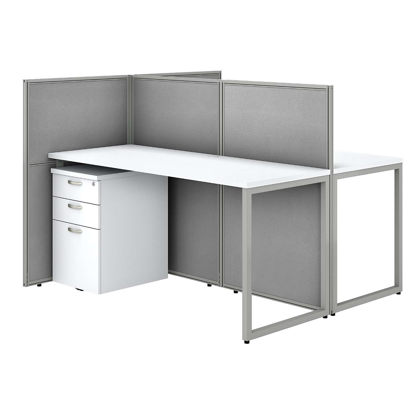 BUSH BUSINESS FURNITURE EASY OFFICE 60W 2 PERSON CUBICLE DESK WITH FILE CABINETS AND 45H PANELS. FREE SHIPPING