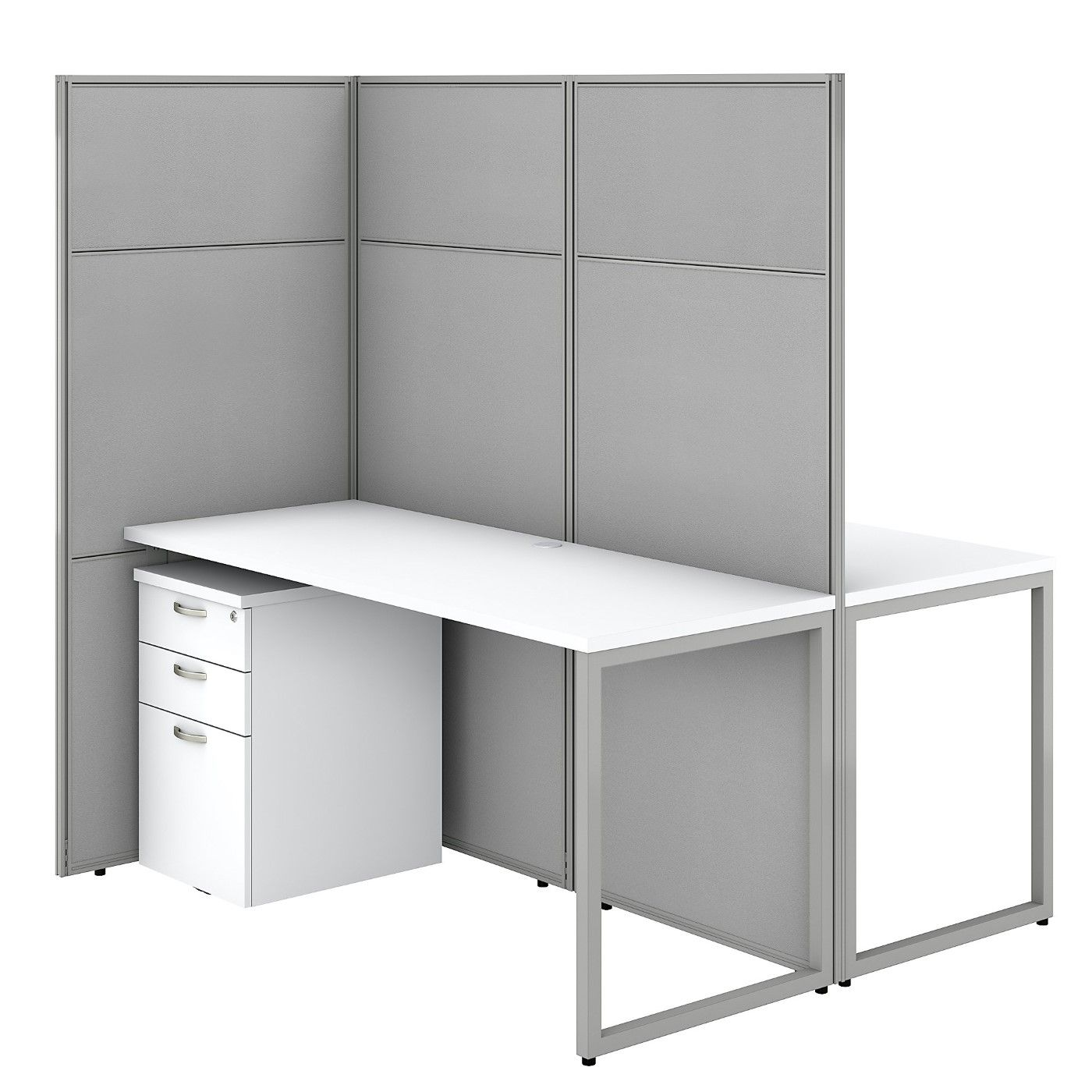 BUSH BUSINESS FURNITURE EASY OFFICE 60W 2 PERSON CUBICLE DESK WITH FILE CABINETS AND 66H PANELS. FREE SHIPPING SALE DEDUCT 10% MORE ENTER '10percent' IN COUPON CODE BOX WHILE CHECKING OUT. ENDS 5-31-20.