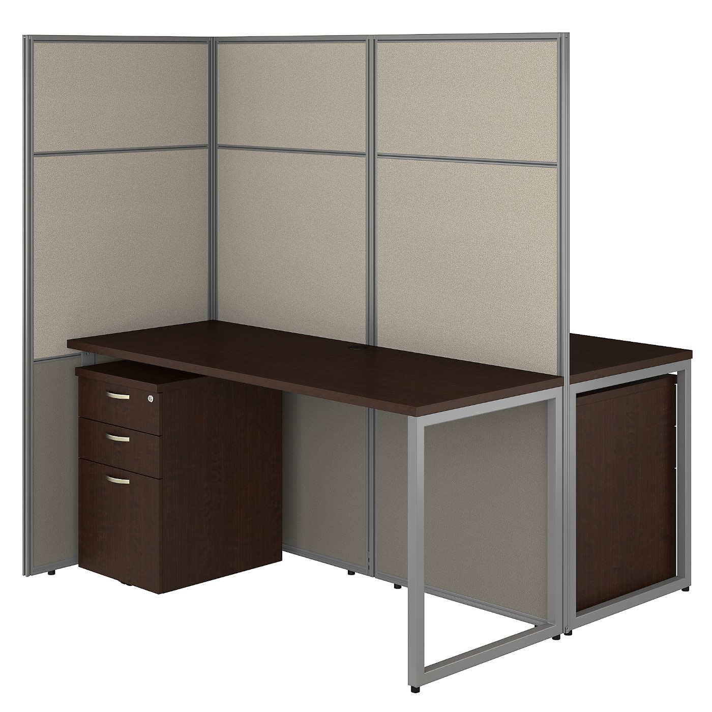 BUSH BUSINESS FURNITURE EASY OFFICE 60W 2 PERSON CUBICLE DESK WITH FILE CABINETS AND 66H PANELS. FREE SHIPPING 30H x 72L x 72W.