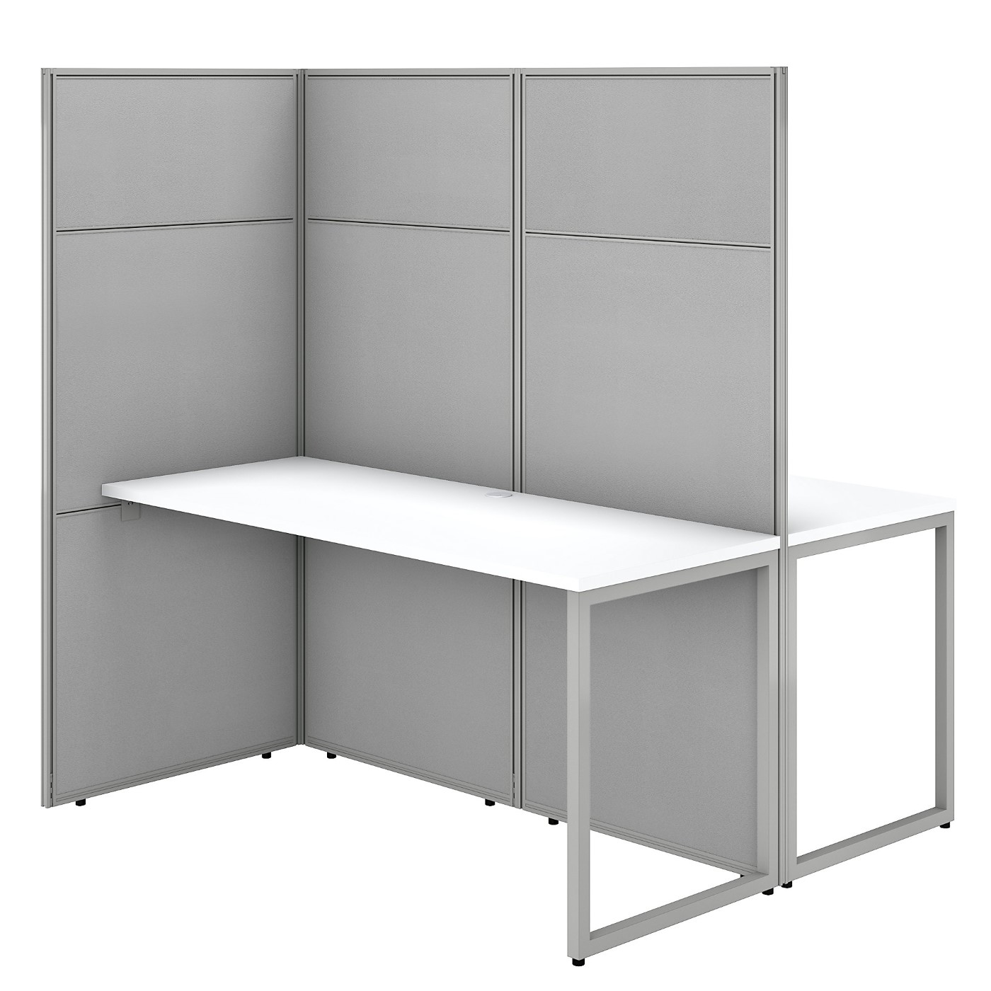 BUSH BUSINESS FURNITURE EASY OFFICE 60W 2 PERSON CUBICLE DESK WORKSTATION WITH 66H PANELS. FREE SHIPPING