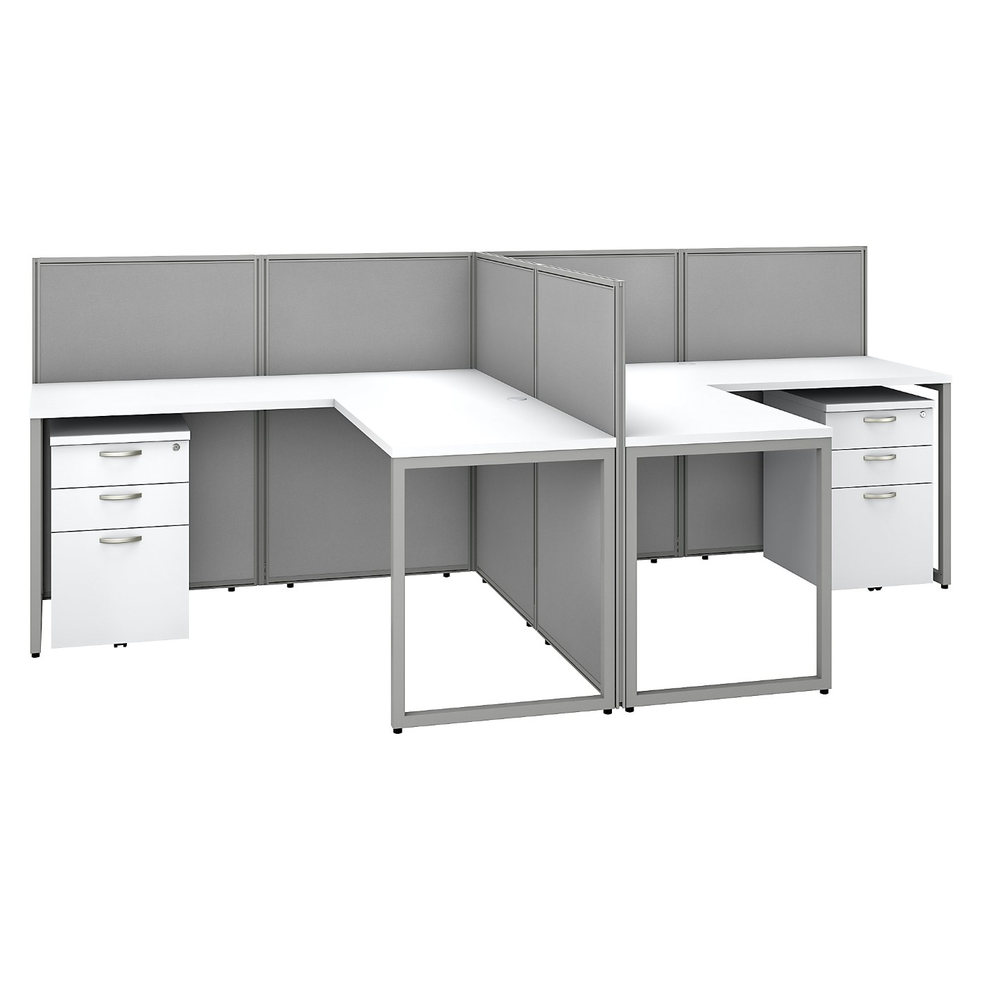 BUSH BUSINESS FURNITURE EASY OFFICE 60W 2 PERSON L SHAPED CUBICLE DESK WITH DRAWERS AND 45H PANELS. FREE SHIPPING SALE DEDUCT 10% MORE ENTER '10percent' IN COUPON CODE BOX WHILE CHECKING OUT. ENDS 5-31-20.