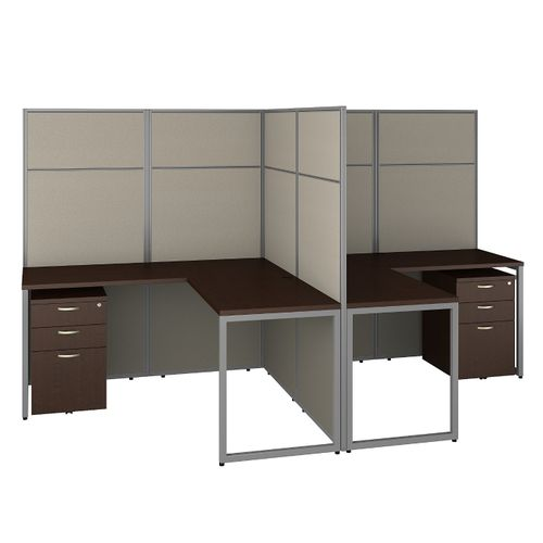 BUSH BUSINESS FURNITURE EASY OFFICE 60W 2 PERSON L SHAPED CUBICLE DESK WITH DRAWERS AND 66H PANELS. FREE SHIPPING 30H x 72L x 72W.  SALE DEDUCT 10% MORE ENTER '10percent' IN COUPON CODE BOX WHILE CHECKING OUT.