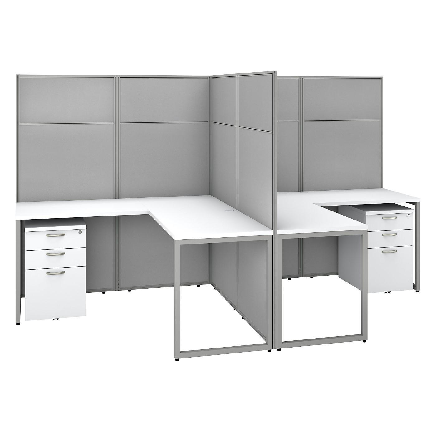 BUSH BUSINESS FURNITURE EASY OFFICE 60W 2 PERSON L SHAPED CUBICLE DESK WITH DRAWERS AND 66H PANELS. FREE SHIPPING SALE DEDUCT 10% MORE ENTER '10percent' IN COUPON CODE BOX WHILE CHECKING OUT. ENDS 5-31-20.