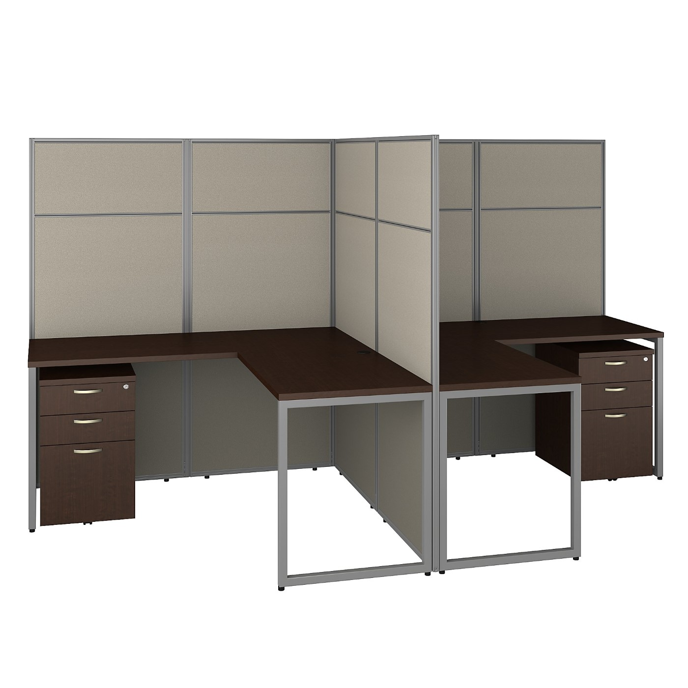 <font color=#c60><b>BUSH BUSINESS FURNITURE EASY OFFICE 60W 2 PERSON L SHAPED CUBICLE DESK WITH DRAWERS AND 66H PANELS. FREE SHIPPING 30H x 72L x 72W</font></b>
