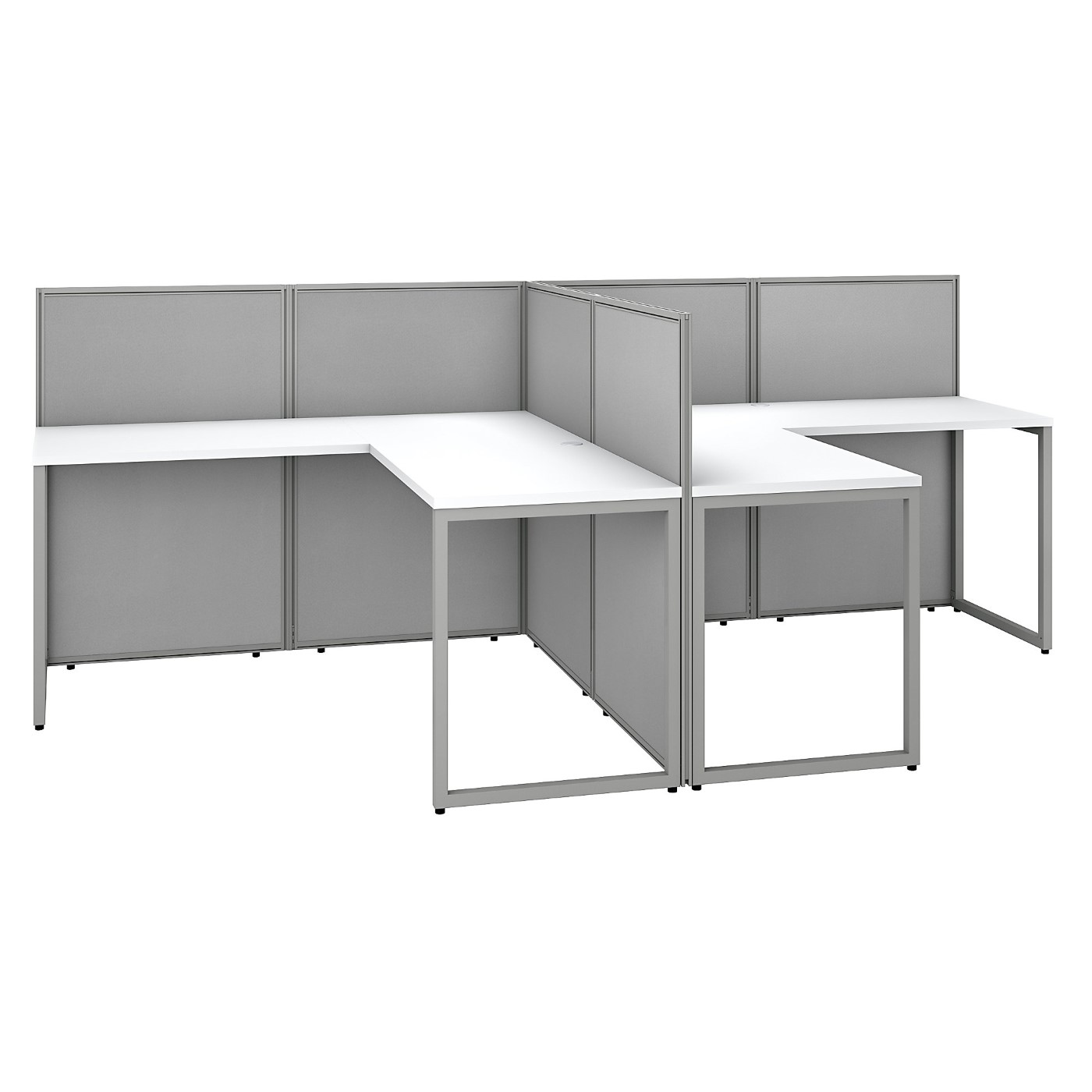 BUSH BUSINESS FURNITURE EASY OFFICE 60W 2 PERSON L SHAPED CUBICLE DESK WORKSTATION WITH 45H PANELS. FREE SHIPPING SALE DEDUCT 10% MORE ENTER '10percent' IN COUPON CODE BOX WHILE CHECKING OUT. ENDS 5-31-20.