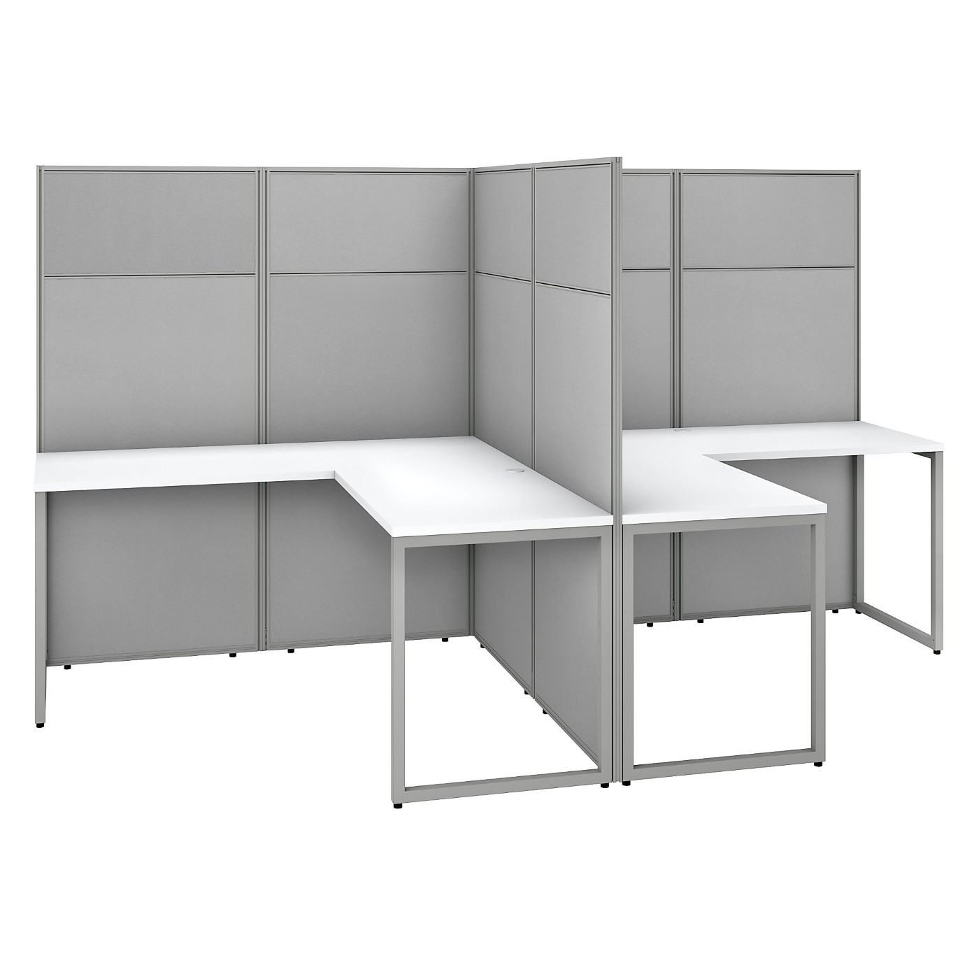 BUSH BUSINESS FURNITURE EASY OFFICE 60W 2 PERSON L SHAPED CUBICLE DESK WORKSTATION WITH 66H PANELS. FREE SHIPPING