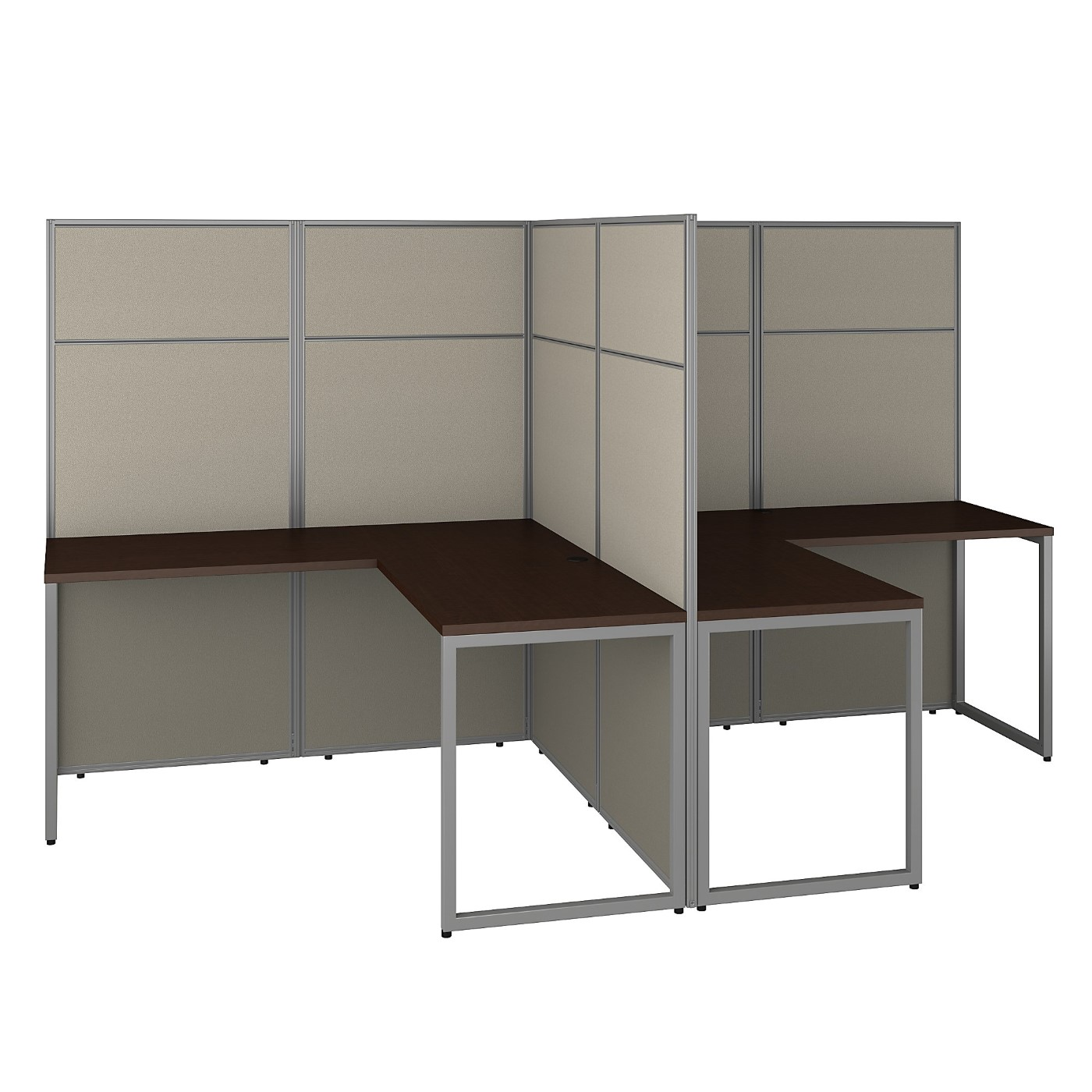 BUSH BUSINESS FURNITURE EASY OFFICE 60W 2 PERSON L SHAPED CUBICLE DESK WORKSTATION WITH 66H PANELS. FREE SHIPPING 30H x 72L x 72W.  SALE DEDUCT 10% MORE ENTER '10percent' IN COUPON CODE BOX WHILE CHECKING OUT. ENDS 5-31-20.