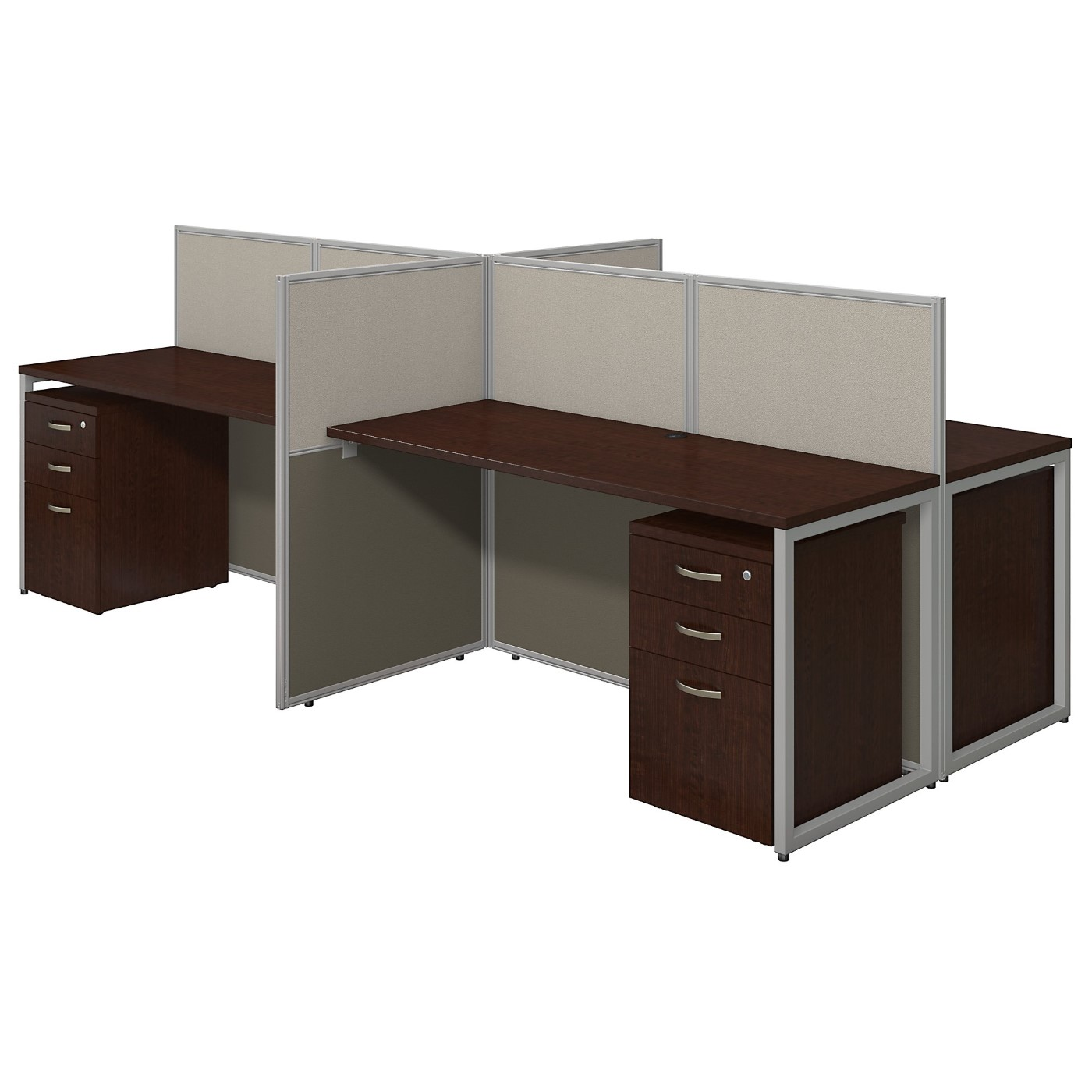 BUSH BUSINESS FURNITURE EASY OFFICE 60W 4 PERSON CUBICLE DESK WITH FILE CABINETS AND 45H PANELS. FREE SHIPPING