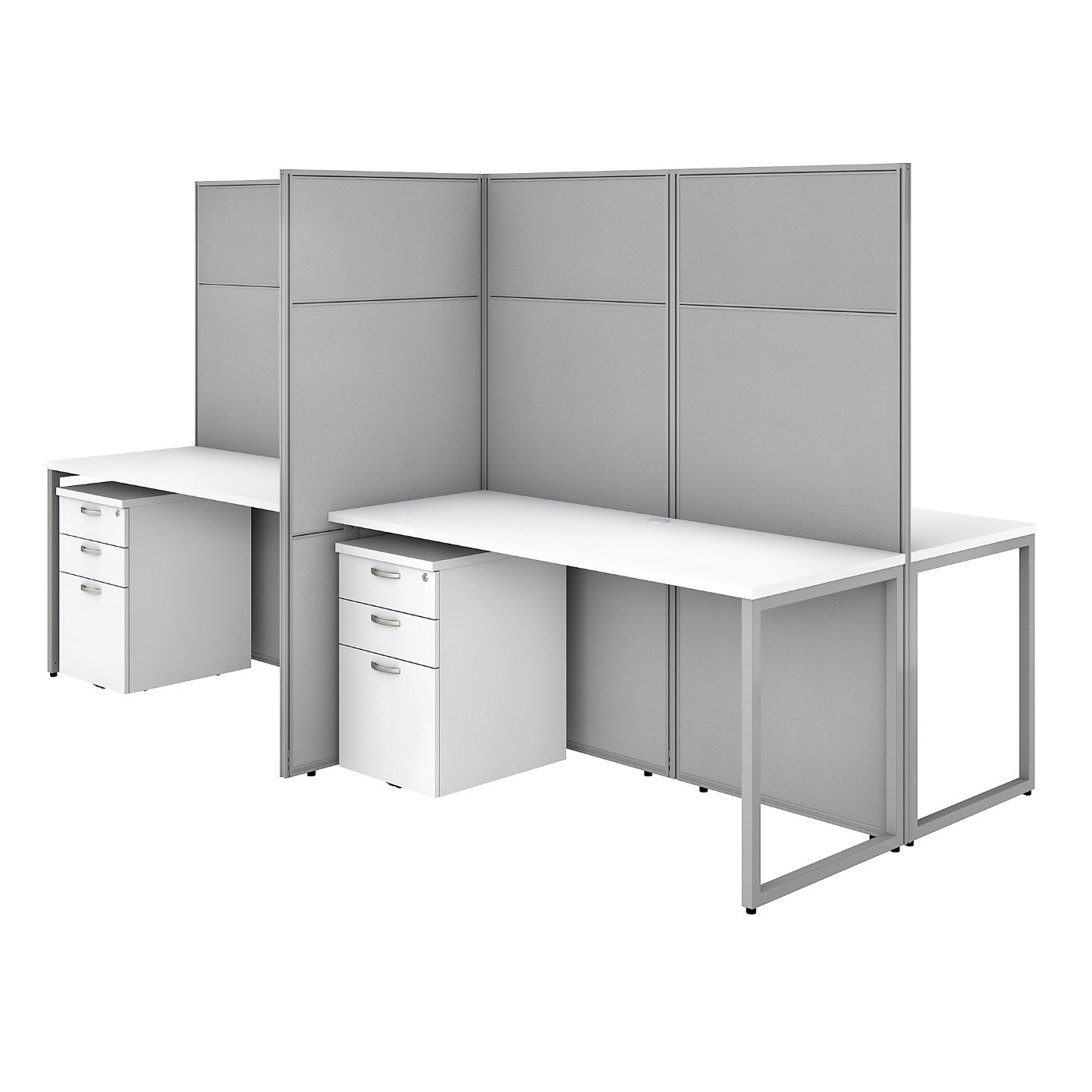 BUSH BUSINESS FURNITURE EASY OFFICE 60W 4 PERSON CUBICLE DESK WITH FILE CABINETS AND 66H PANELS. FREE SHIPPING SALE DEDUCT 10% MORE ENTER '10percent' IN COUPON CODE BOX WHILE CHECKING OUT. ENDS 5-31-20.
