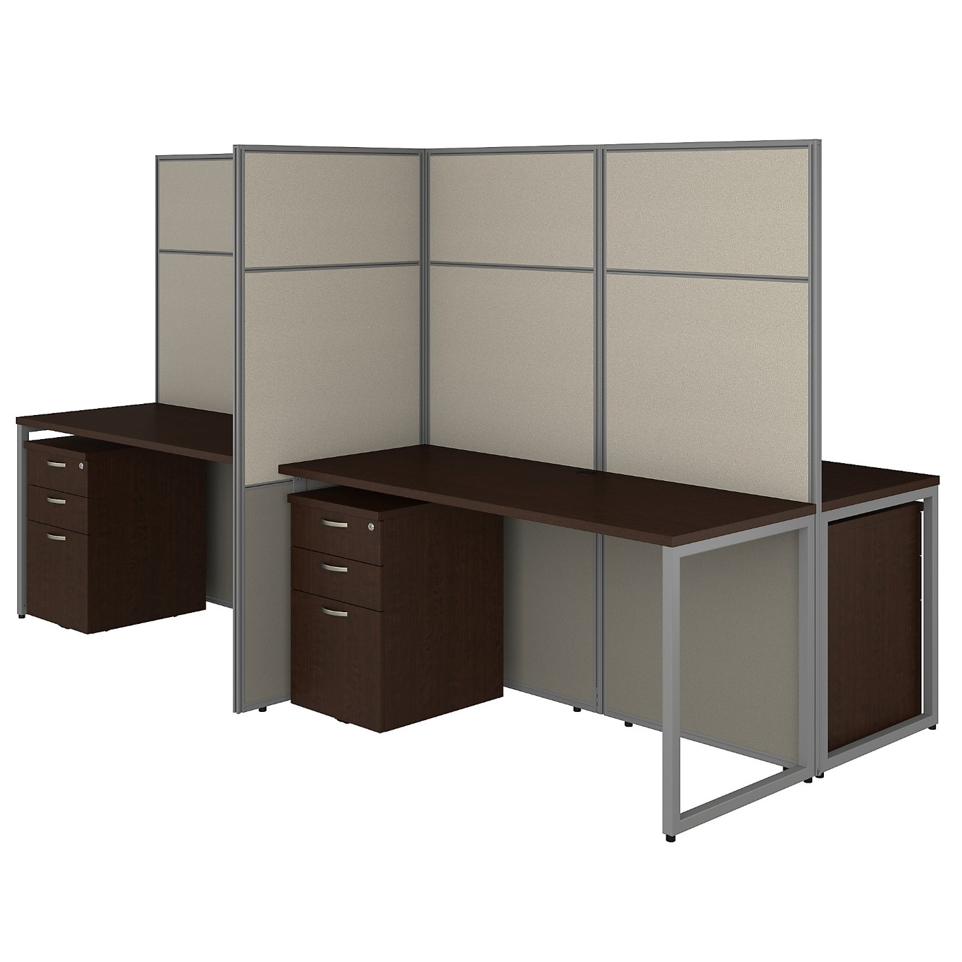 BUSH BUSINESS FURNITURE EASY OFFICE 60W 4 PERSON CUBICLE DESK WITH FILE CABINETS AND 66H PANELS. FREE SHIPPING 30H x 72L x 72W  VIDEO BELOW.
