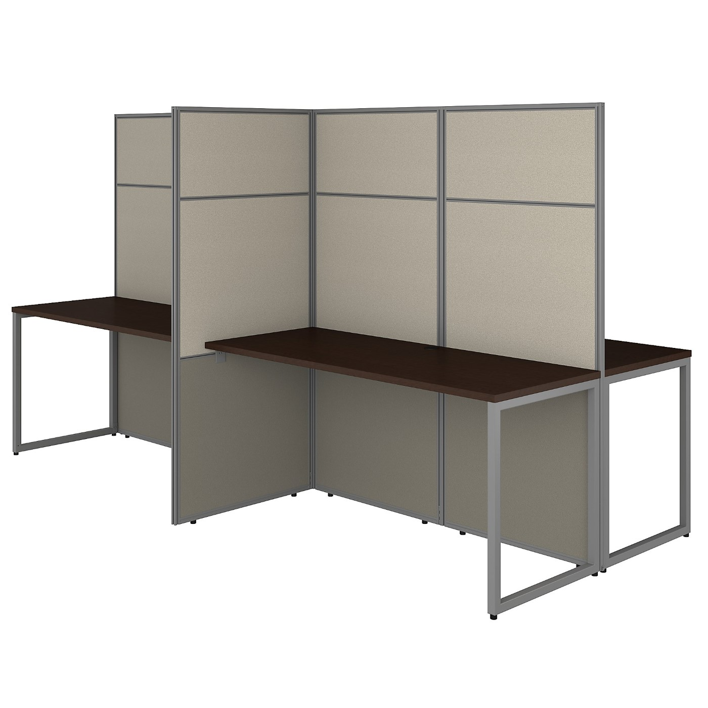 BUSH BUSINESS FURNITURE EASY OFFICE 60W 4 PERSON CUBICLE DESK WORKSTATION WITH 66H PANELS. FREE SHIPPING 30H x 72L x 72W  VIDEO BELOW.  SALE DEDUCT 10% MORE ENTER '10percent' IN COUPON CODE BOX WHILE CHECKING OUT. ENDS 5-31-20.