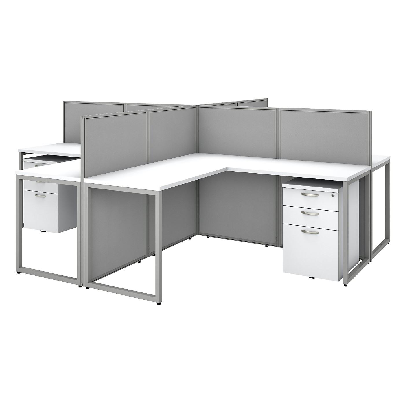 BUSH BUSINESS FURNITURE EASY OFFICE 60W 4 PERSON L SHAPED CUBICLE DESK WITH DRAWERS AND 45H PANELS. FREE SHIPPING SALE DEDUCT 10% MORE ENTER '10percent' IN COUPON CODE BOX WHILE CHECKING OUT. ENDS 5-31-20.