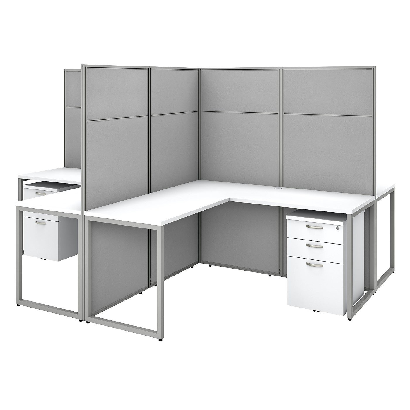 BUSH BUSINESS FURNITURE EASY OFFICE 60W 4 PERSON L SHAPED CUBICLE DESK WITH DRAWERS AND 66H PANELS. FREE SHIPPING SALE DEDUCT 10% MORE ENTER '10percent' IN COUPON CODE BOX WHILE CHECKING OUT. ENDS 5-31-20.