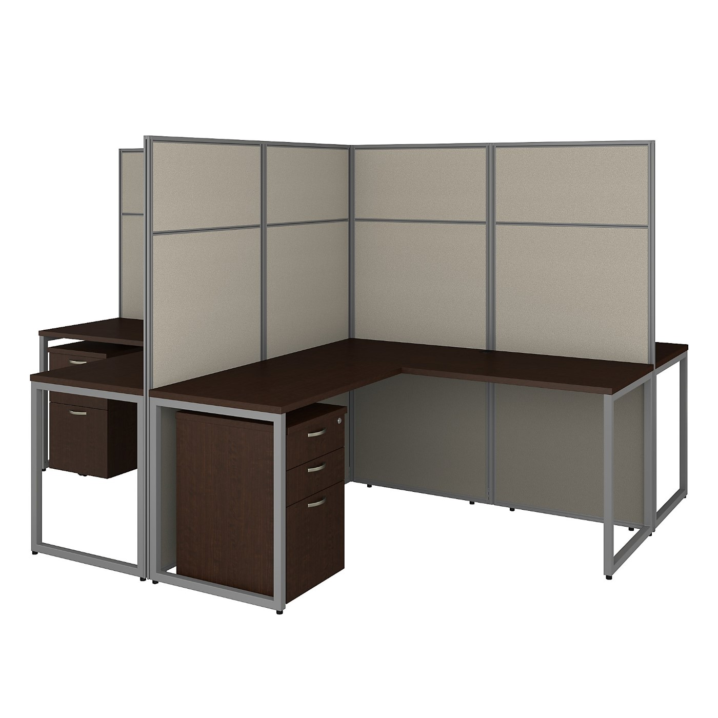 BUSH BUSINESS FURNITURE EASY OFFICE 60W 4 PERSON L SHAPED CUBICLE DESK WITH DRAWERS AND 66H PANELS. FREE SHIPPING 30H x 72L x 72W  VIDEO BELOW.  SALE DEDUCT 10% MORE ENTER '10percent' IN COUPON CODE BOX WHILE CHECKING OUT. ENDS 5-31-20.