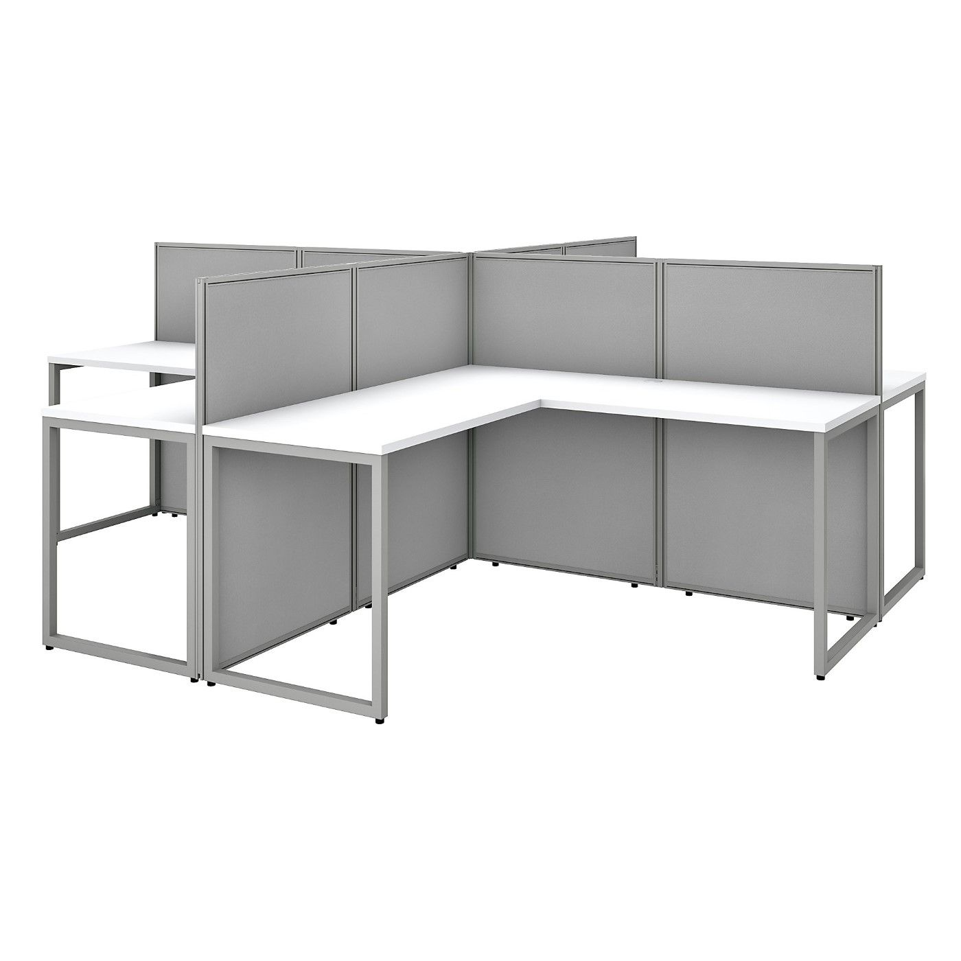 BUSH BUSINESS FURNITURE EASY OFFICE 60W 4 PERSON L SHAPED CUBICLE DESK WORKSTATION WITH 45H PANELS. FREE SHIPPING SALE DEDUCT 10% MORE ENTER '10percent' IN COUPON CODE BOX WHILE CHECKING OUT. ENDS 5-31-20.