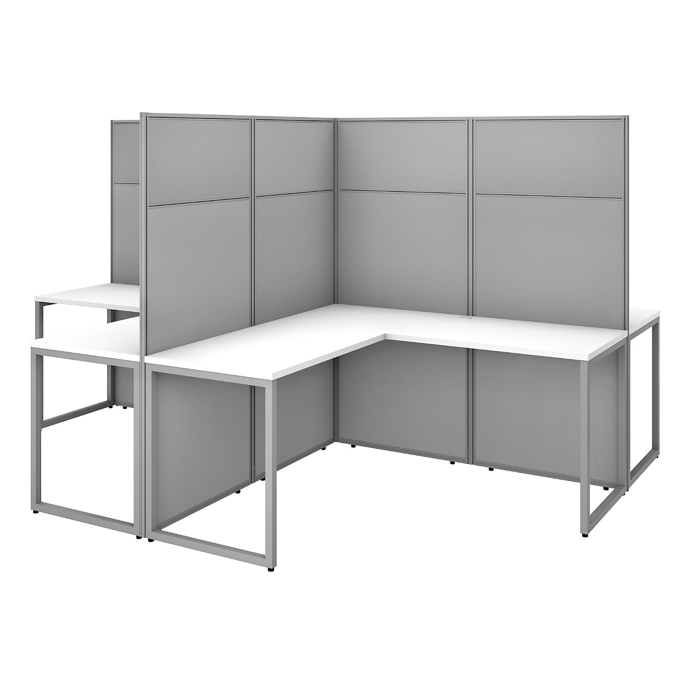 BUSH BUSINESS FURNITURE EASY OFFICE 60W 4 PERSON L SHAPED CUBICLE DESK WORKSTATION WITH 66H PANELS. FREE SHIPPING SALE DEDUCT 10% MORE ENTER '10percent' IN COUPON CODE BOX WHILE CHECKING OUT. ENDS 5-31-20.