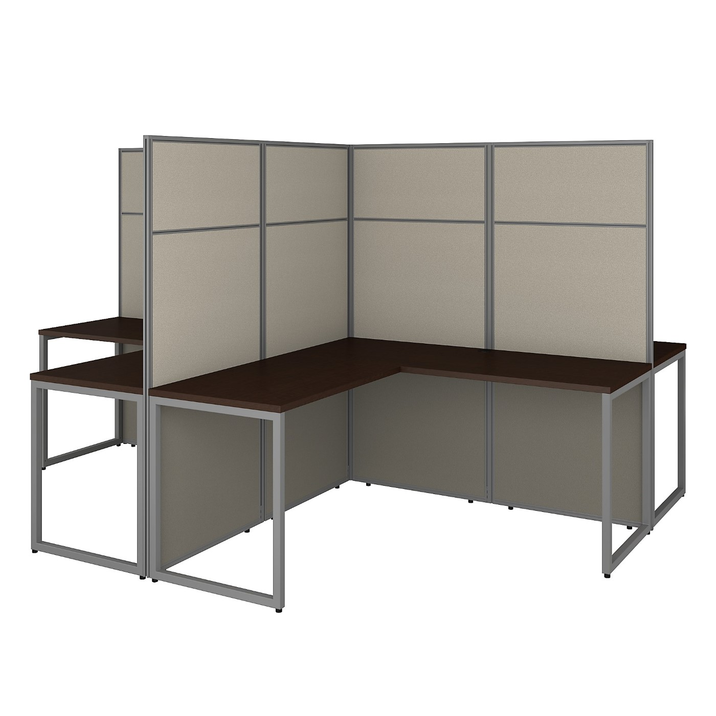 BUSH BUSINESS FURNITURE EASY OFFICE 60W 4 PERSON L SHAPED CUBICLE DESK WORKSTATION WITH 66H PANELS. FREE SHIPPING 30H x 72L x 72W  VIDEO BELOW.