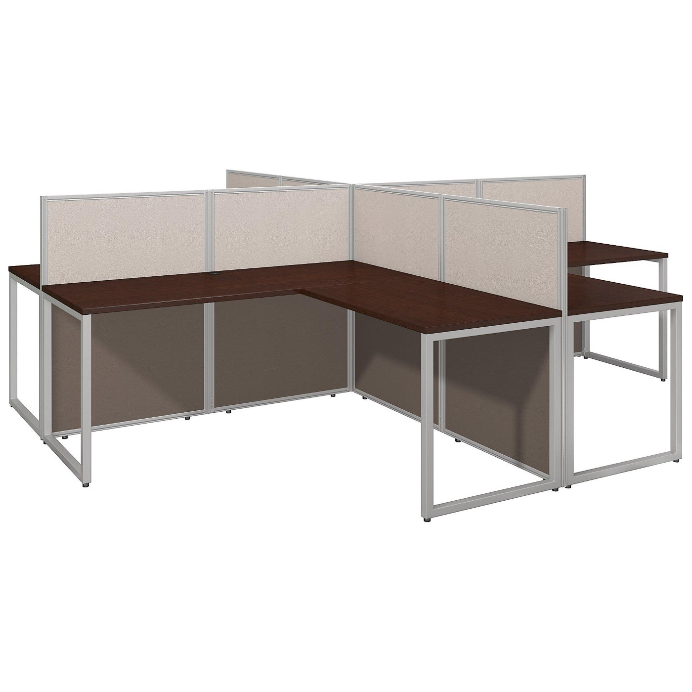 BUSH BUSINESS FURNITURE EASY OFFICE 60W 4 PERSON L SHAPED DESK OPEN OFFICE. FREE SHIPPING.  SALE DEDUCT 10% MORE ENTER '10percent' IN COUPON CODE BOX WHILE CHECKING OUT. ENDS 5-31-20.