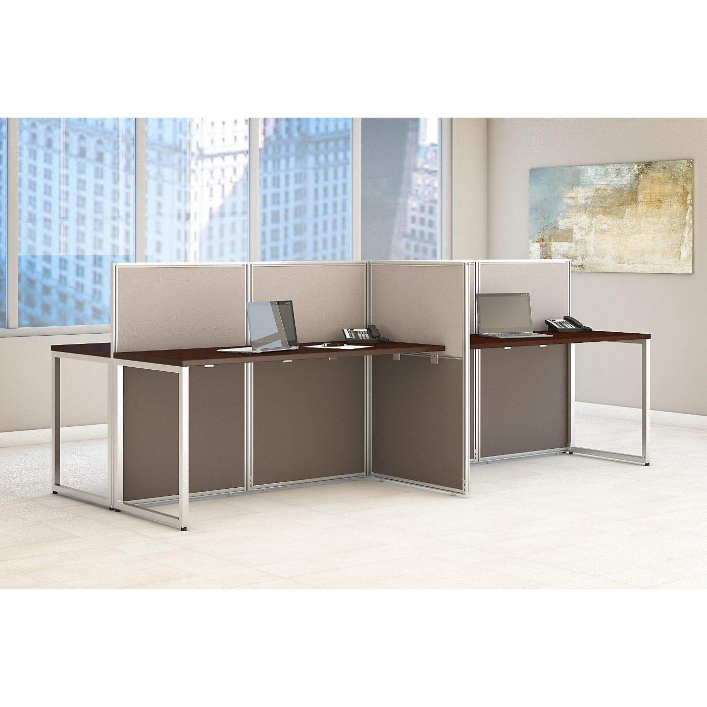 Office Table For 4 Person: Bush Business Furniture Easy Office 60W 4 Person Straight