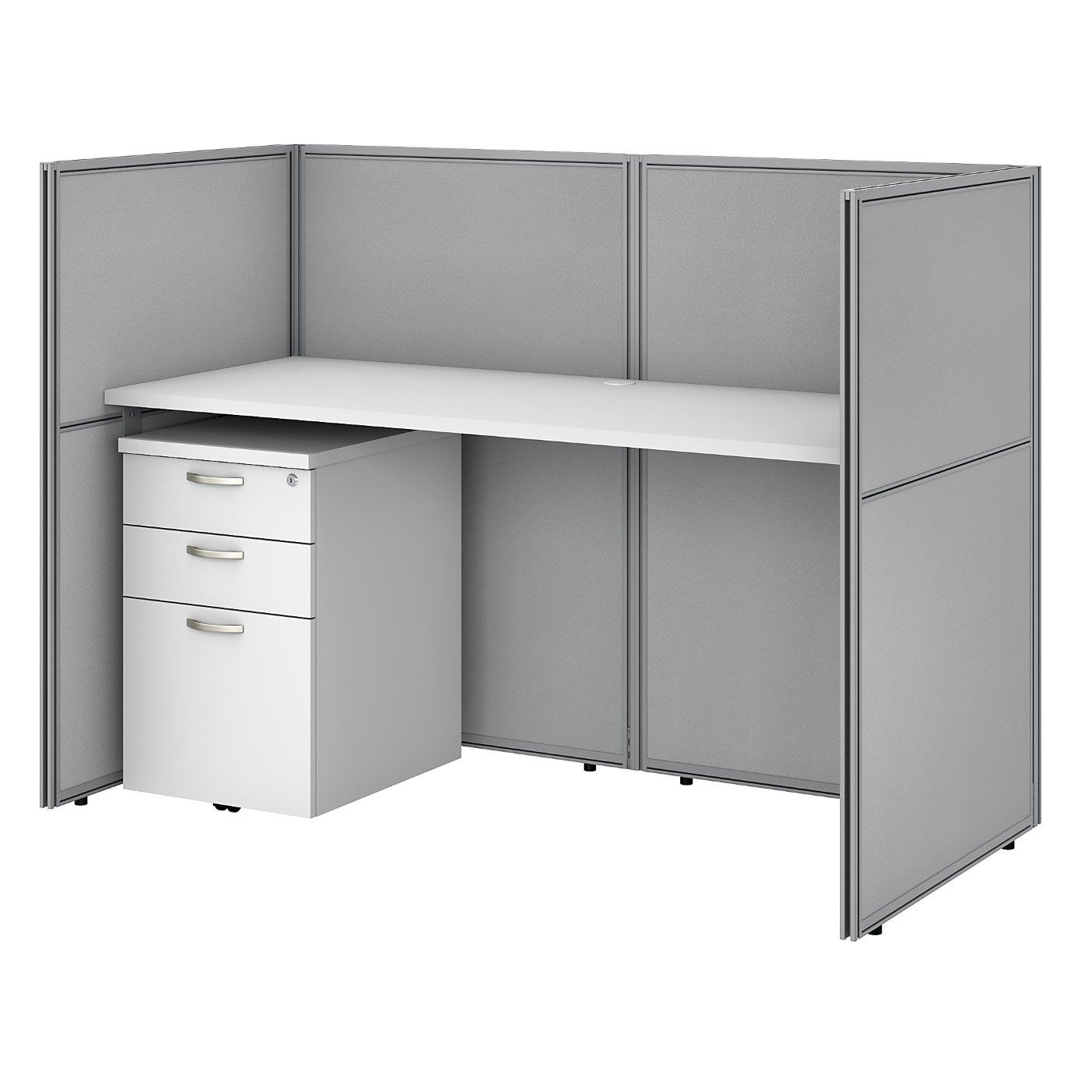 BUSH BUSINESS FURNITURE EASY OFFICE 60W CUBICLE DESK WITH FILE CABINET AND 45H CLOSED PANELS WORKSTATION. FREE SHIPPING SALE DEDUCT 10% MORE ENTER '10percent' IN COUPON CODE BOX WHILE CHECKING OUT. ENDS 5-31-20.