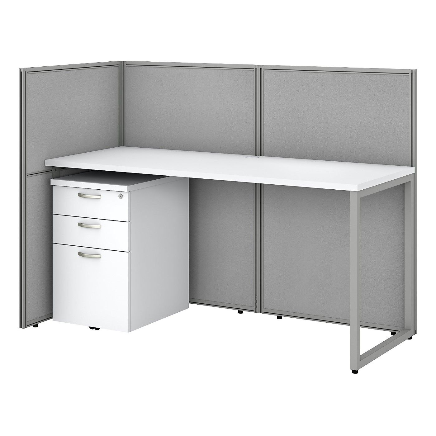 BUSH BUSINESS FURNITURE EASY OFFICE 60W CUBICLE DESK WITH FILE CABINET AND 45H OPEN PANELS WORKSTATION. FREE SHIPPING