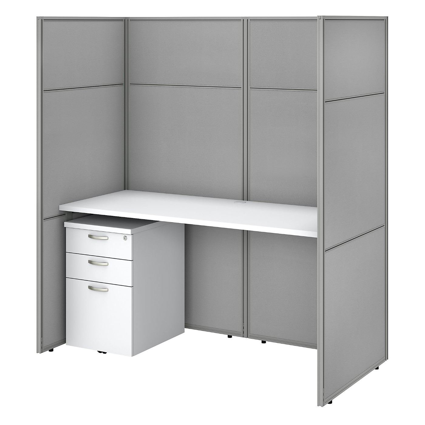 BUSH BUSINESS FURNITURE EASY OFFICE 60W CUBICLE DESK WITH FILE CABINET AND 66H CLOSED PANELS WORKSTATION. FREE SHIPPING SALE DEDUCT 10% MORE ENTER '10percent' IN COUPON CODE BOX WHILE CHECKING OUT. ENDS 5-31-20.