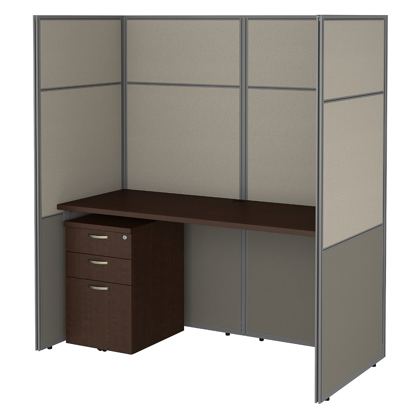BUSH BUSINESS FURNITURE EASY OFFICE 60W CUBICLE DESK WITH FILE CABINET AND 66H CLOSED PANELS WORKSTATION. FREE SHIPPING 30H x 72L x 72W.