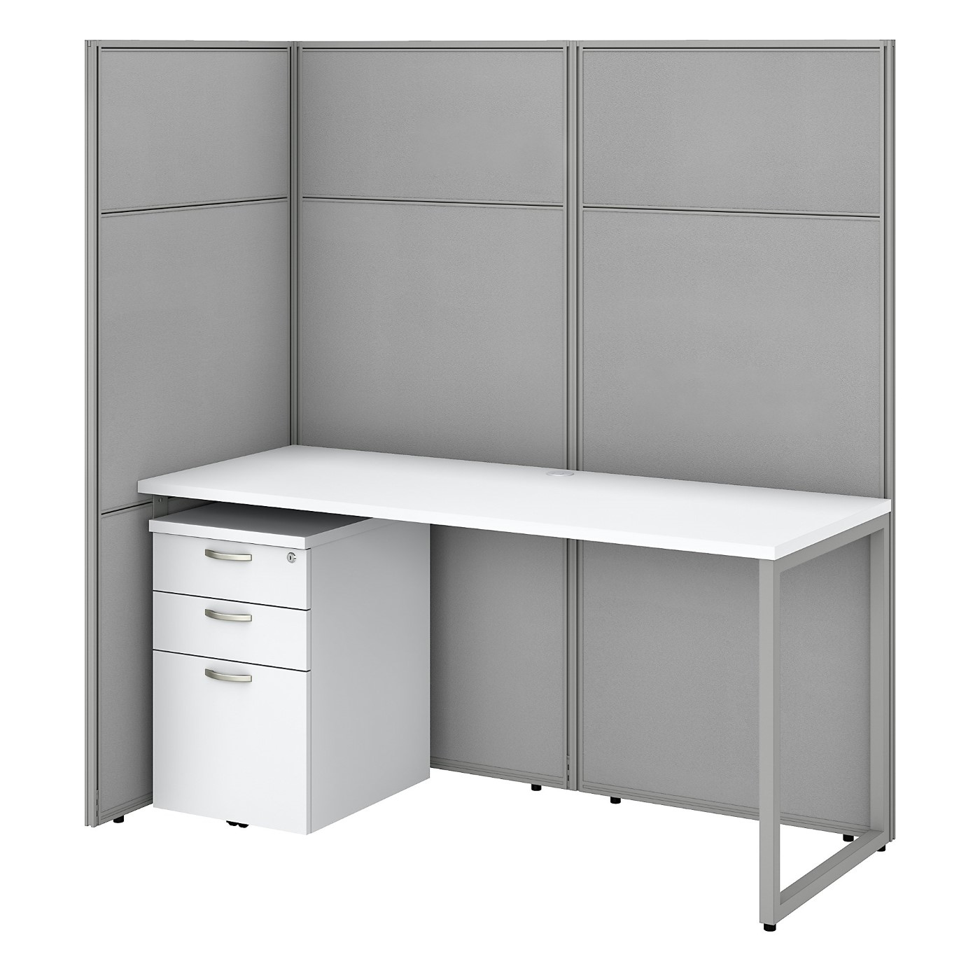 BUSH BUSINESS FURNITURE EASY OFFICE 60W CUBICLE DESK WITH FILE CABINET AND 66H OPEN PANELS WORKSTATION. FREE SHIPPING SALE DEDUCT 10% MORE ENTER '10percent' IN COUPON CODE BOX WHILE CHECKING OUT. ENDS 5-31-20.