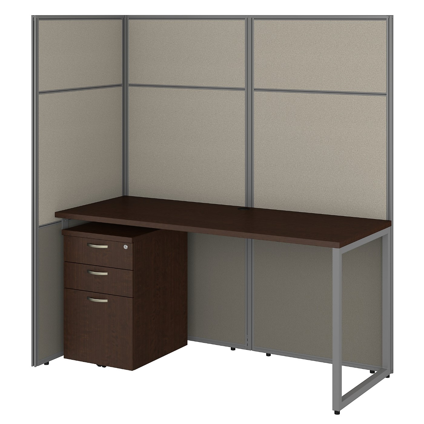 BUSH BUSINESS FURNITURE EASY OFFICE 60W CUBICLE DESK WITH FILE CABINET AND 66H OPEN PANELS WORKSTATION. FREE SHIPPING 30H x 72L x 72W.