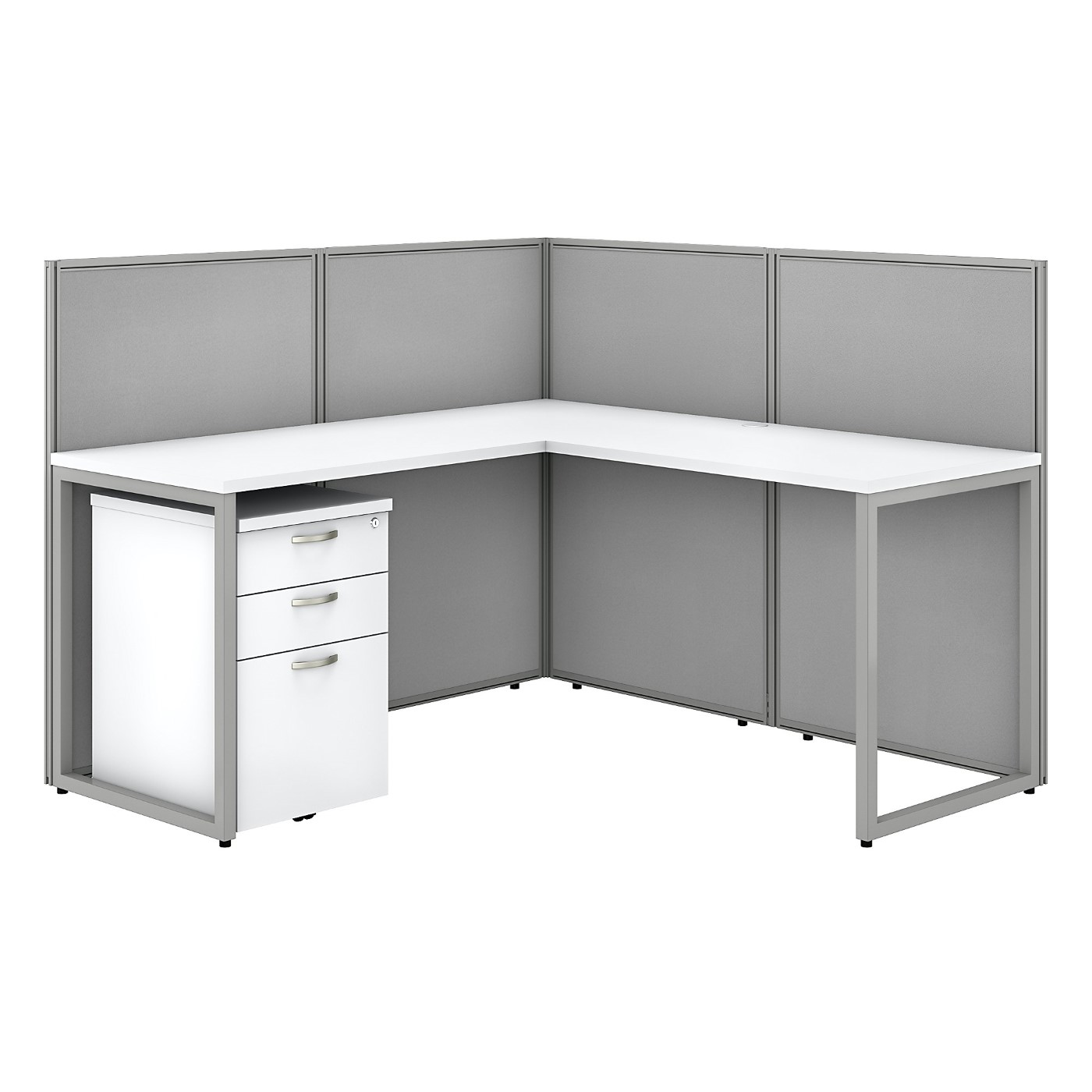 BUSH BUSINESS FURNITURE EASY OFFICE 60W L SHAPED CUBICLE DESK WITH FILE CABINET AND 45H PANELS. FREE SHIPPING SALE DEDUCT 10% MORE ENTER '10percent' IN COUPON CODE BOX WHILE CHECKING OUT. ENDS 5-31-20.