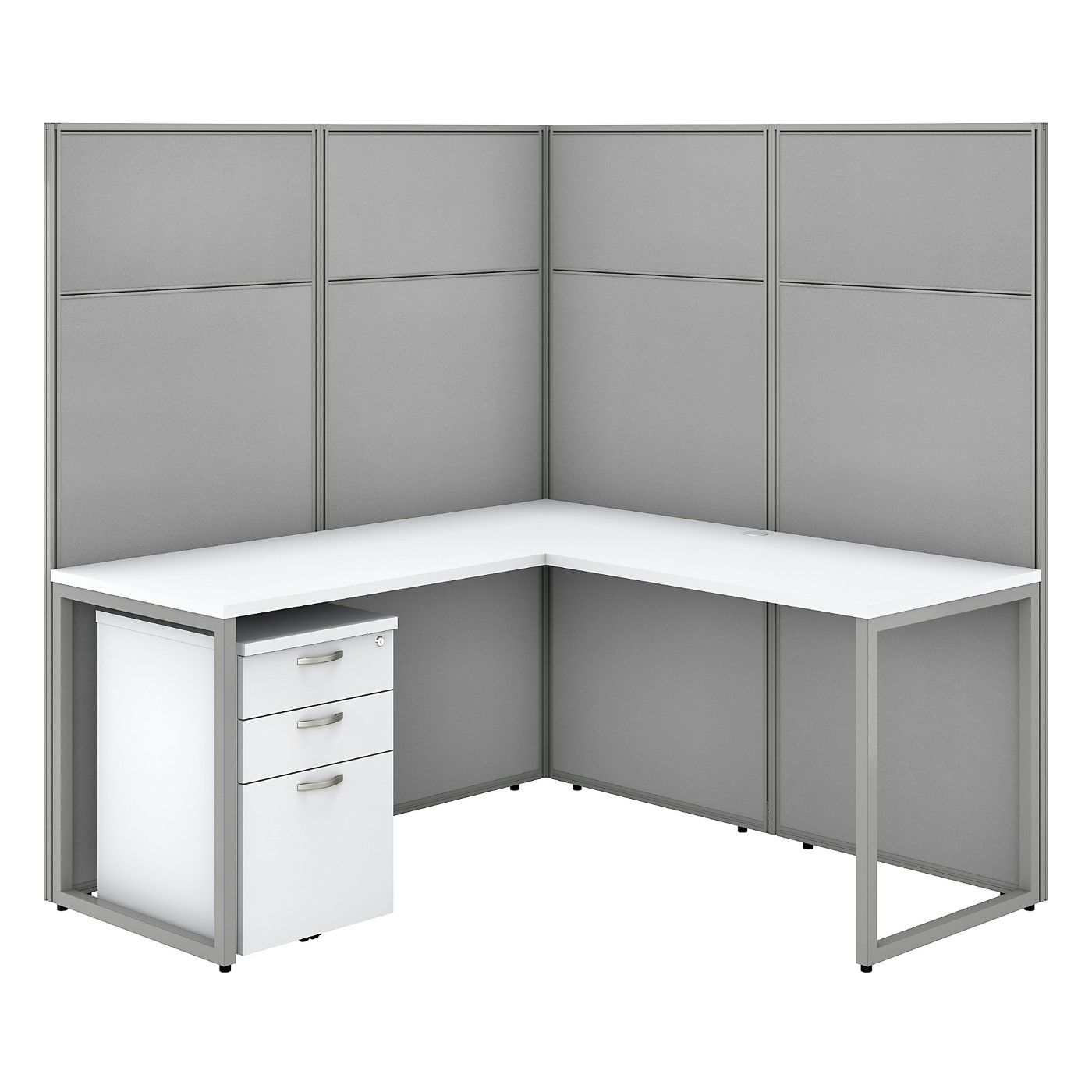 BUSH BUSINESS FURNITURE EASY OFFICE 60W L SHAPED CUBICLE DESK WITH FILE CABINET AND 66H PANELS. FREE SHIPPING SALE DEDUCT 10% MORE ENTER '10percent' IN COUPON CODE BOX WHILE CHECKING OUT. ENDS 5-31-20.