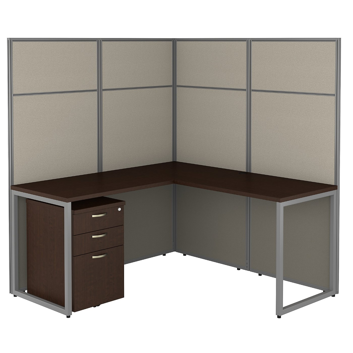 BUSH BUSINESS FURNITURE EASY OFFICE 60W L SHAPED CUBICLE DESK WITH FILE CABINET AND 66H PANELS. FREE SHIPPING 30H x 72L x 72W.