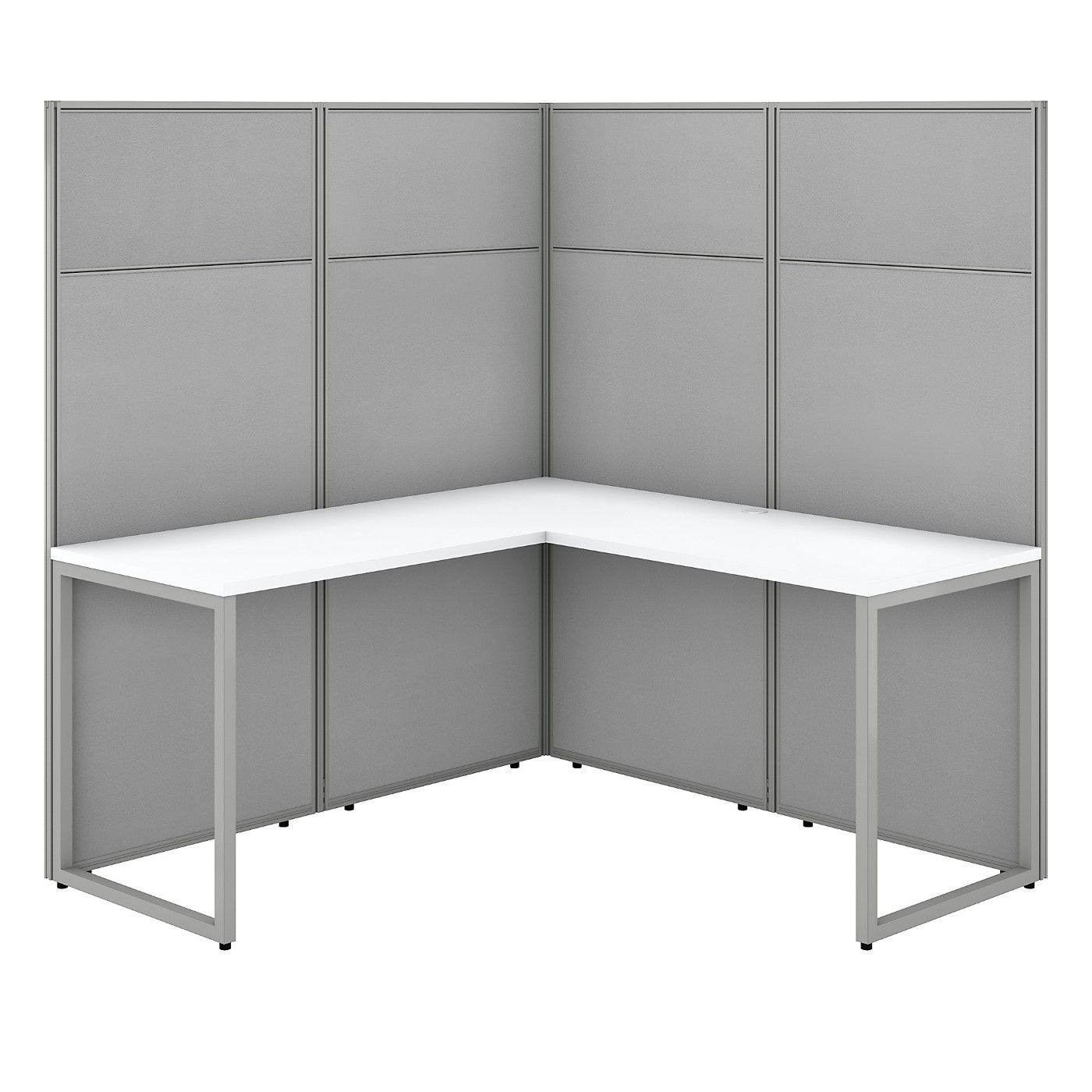 BUSH BUSINESS FURNITURE EASY OFFICE 60W L SHAPED CUBICLE DESK WORKSTATION WITH 66H PANELS. FREE SHIPPING