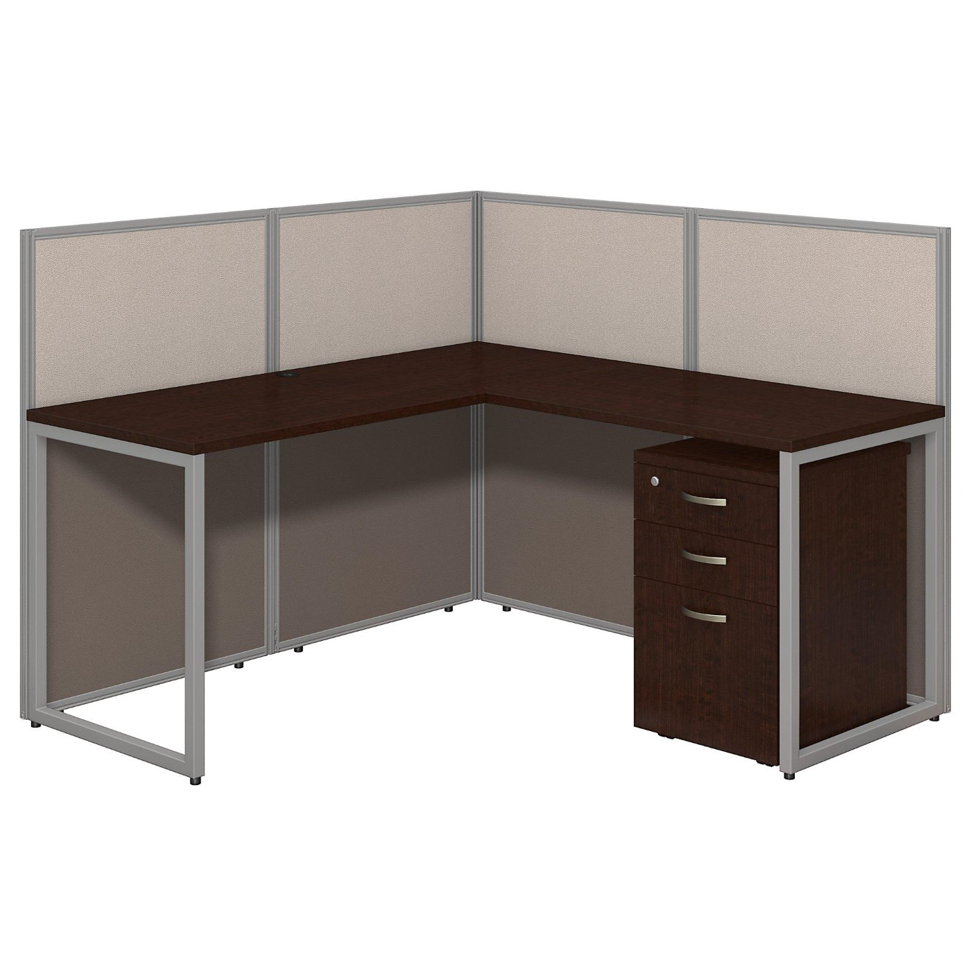 BUSH BUSINESS FURNITURE EASY OFFICE 60W L SHAPED DESK OPEN OFFICE WITH MOBILE FILE CABINET. FREE SHIPPING.