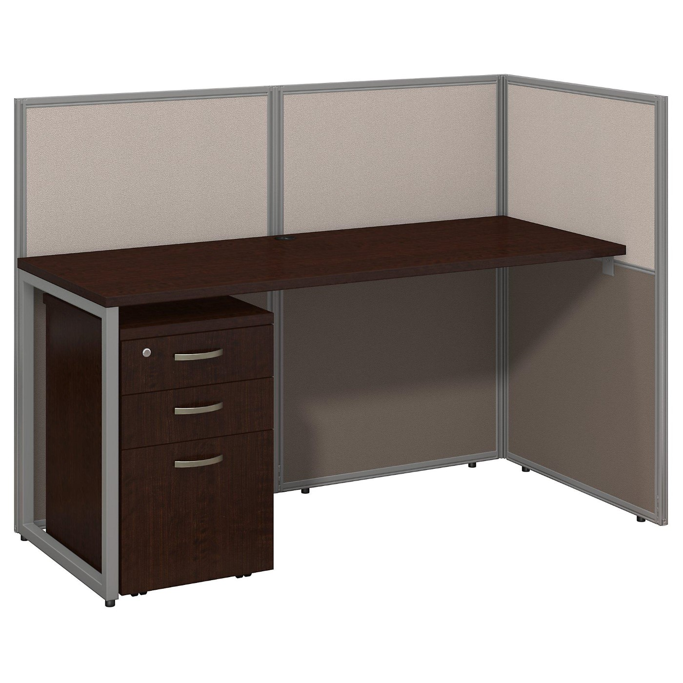 BUSH BUSINESS FURNITURE EASY OFFICE 60W STRAIGHT DESK OPEN OFFICE WITH MOBILE FILE CABINET. FREE SHIPPING  VIDEO BELOW.