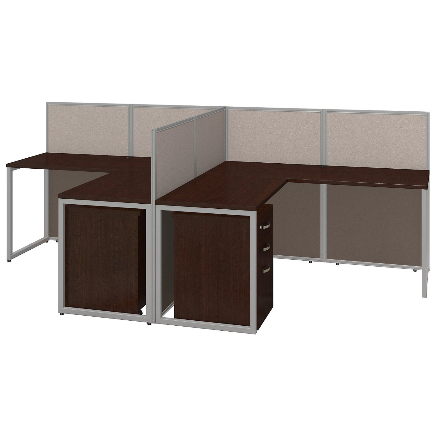 BUSH BUSINESS FURNITURE EASY OFFICE 60W TWO PERSON L SHAPED DESK OPEN OFFICE WITH MOBILE FILE CABINETS. FREE SHIPPING.  SALE DEDUCT 10% MORE ENTER '10percent' IN COUPON CODE BOX WHILE CHECKING OUT. ENDS 5-31-20.