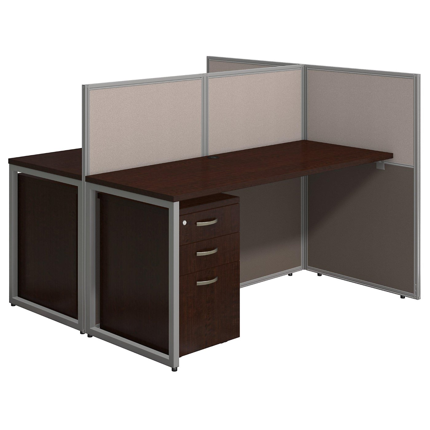 BUSH BUSINESS FURNITURE EASY OFFICE 60W TWO PERSON STRAIGHT DESK OPEN OFFICE WITH MOBILE FILE CABINETS. FREE SHIPPING.