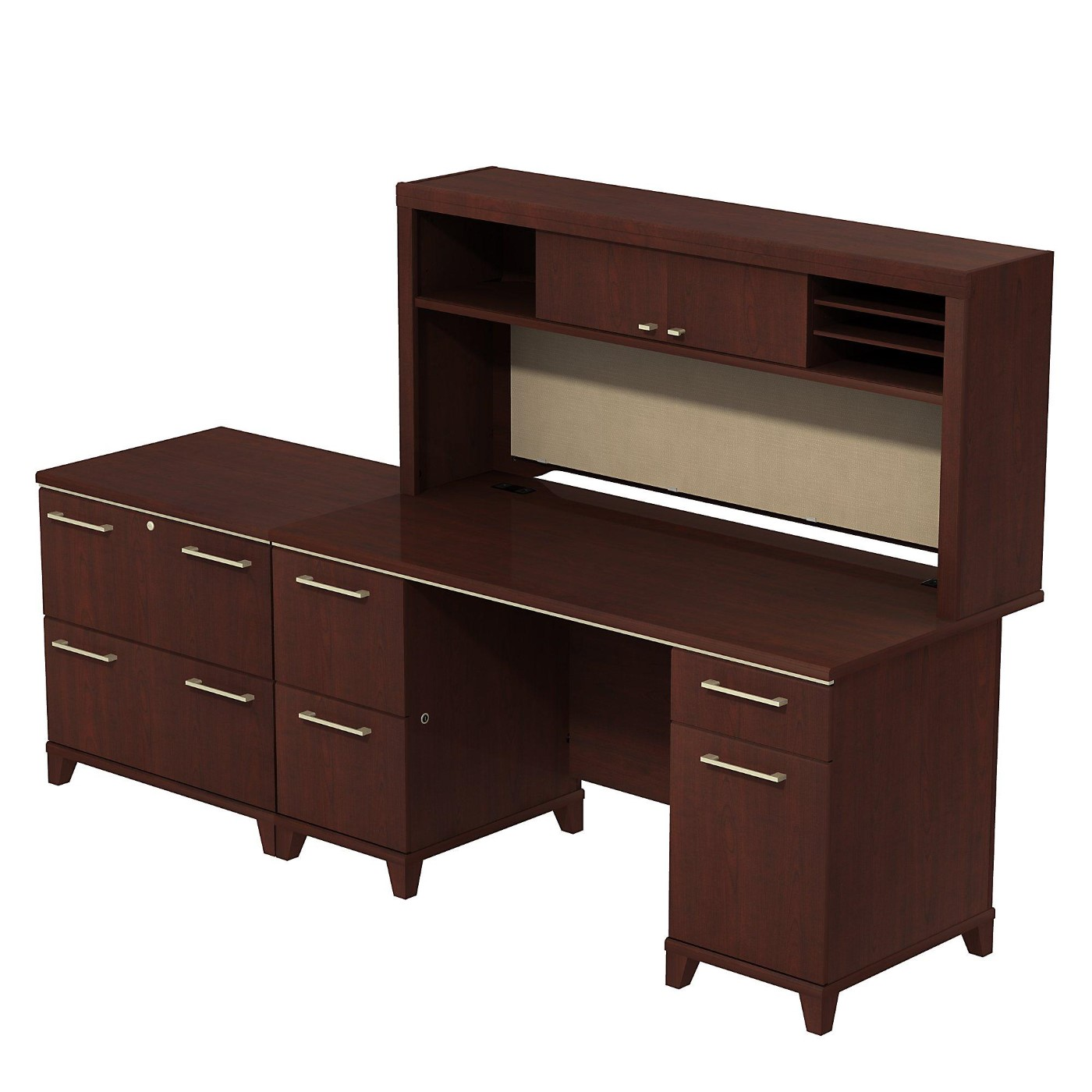 BUSH BUSINESS FURNITURE ENTERPRISE 60W OFFICE DESK WITH HUTCH AND LATERAL FILE CABINET. FREE SHIPPING  VIDEO BELOW.