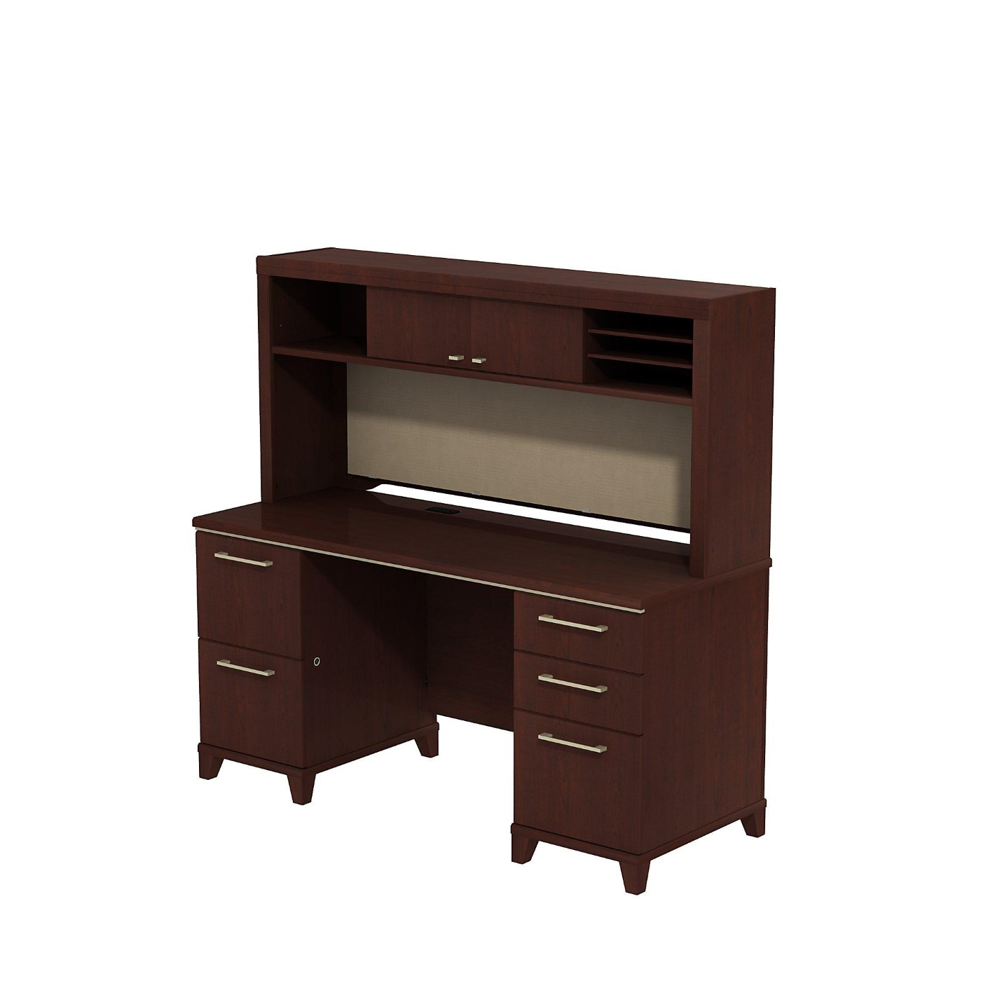 <font color=#c60><b>BUSH BUSINESS FURNITURE ENTERPRISE 60W X 24D OFFICE DESK WITH HUTCH AND 2 PEDESTALS. FREE SHIPPING</font></b>