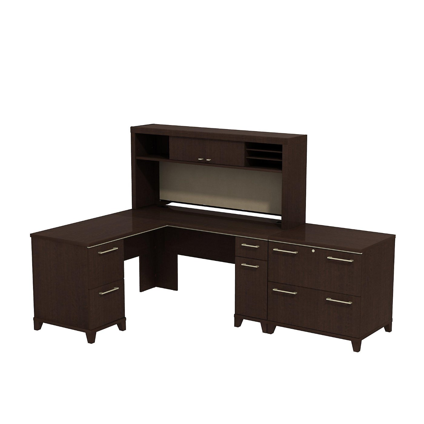 BUSH BUSINESS FURNITURE ENTERPRISE 60W X 60D L SHAPED DESK WITH HUTCH AND LATERAL FILE CABINET. FREE SHIPPING  VIDEO BELOW.