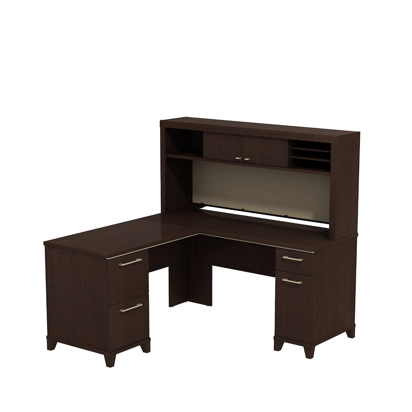 BUSH BUSINESS FURNITURE ENTERPRISE 60W X 60D L SHAPED DESK WITH HUTCH. FREE SHIPPING  VIDEO BELOW.