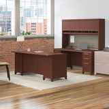 <font color=#c60><b>BUSH BUSINESS FURNITURE ENTERPRISE 72W OFFICE DESK WITH HUTCH, 2 PEDESTALS AND CREDENZA. FREE SHIPPING</font></b>
