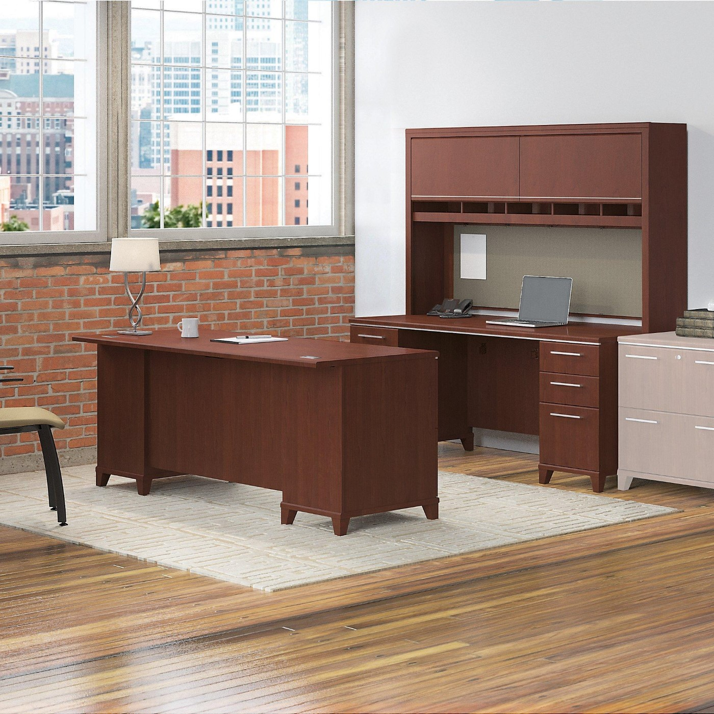 Bush Business Furniture Enterprise 72W Office Desk With Hutch, 2 Pedestals  And Credenza