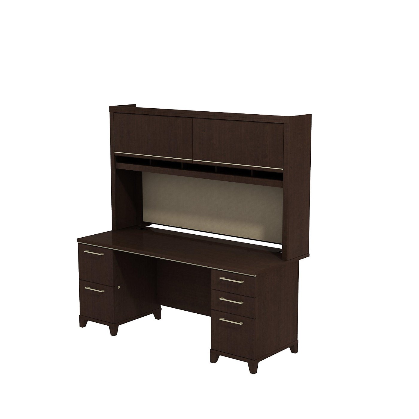 BUSH BUSINESS FURNITURE ENTERPRISE 72W X 30D OFFICE DESK WITH HUTCH AND 2 PEDESTALS. FREE SHIPPING  VIDEO BELOW.