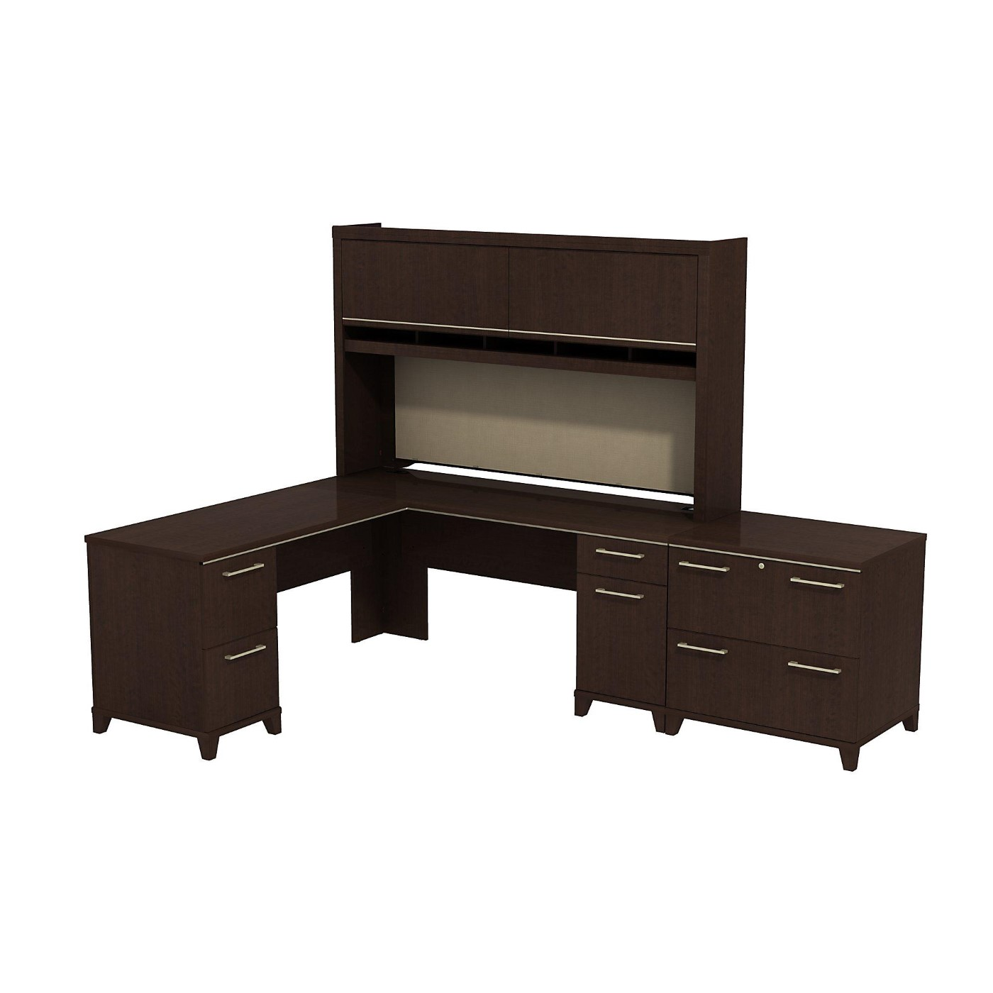 BUSH BUSINESS FURNITURE ENTERPRISE 72W X 72D L SHAPED DESK WITH HUTCH AND LATERAL FILE CABINET. FREE SHIPPING  VIDEO BELOW.