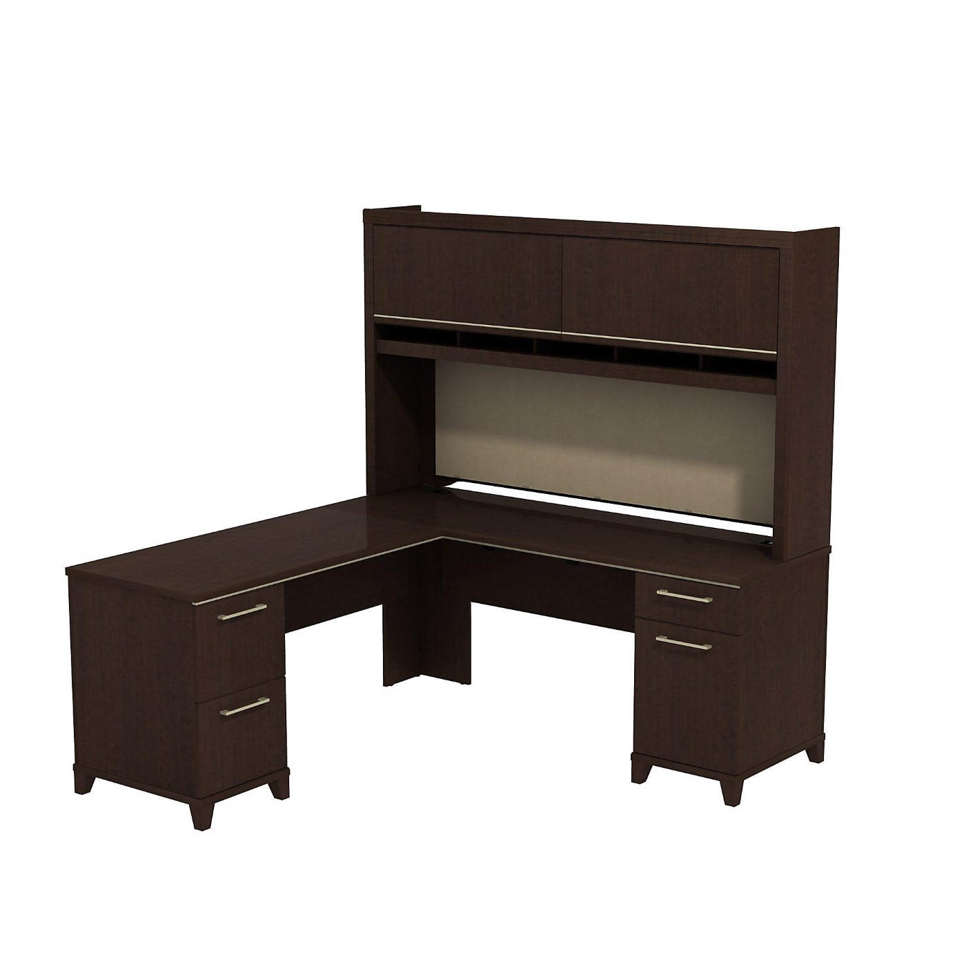 BUSH BUSINESS FURNITURE ENTERPRISE 72W X 72D L SHAPED DESK WITH HUTCH. FREE SHIPPING  VIDEO BELOW.
