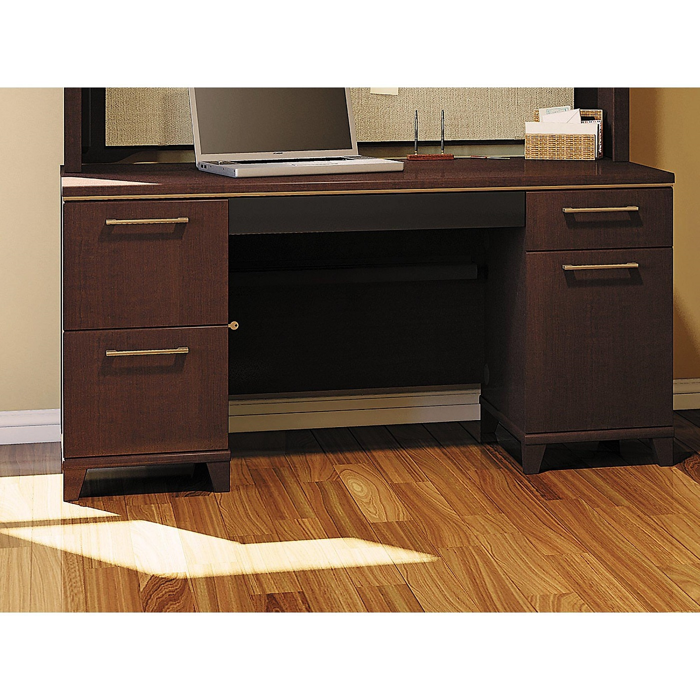 BUSH BUSINESS FURNITURE ENTERPRISE MOCHA CHERRY 60W OFFICE DESK WITH 2 PEDESTALS #EH-2960MC-03K: